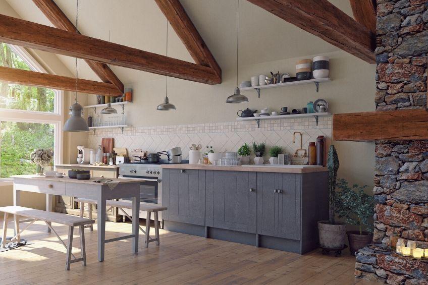 Casa madera piedra sostenible